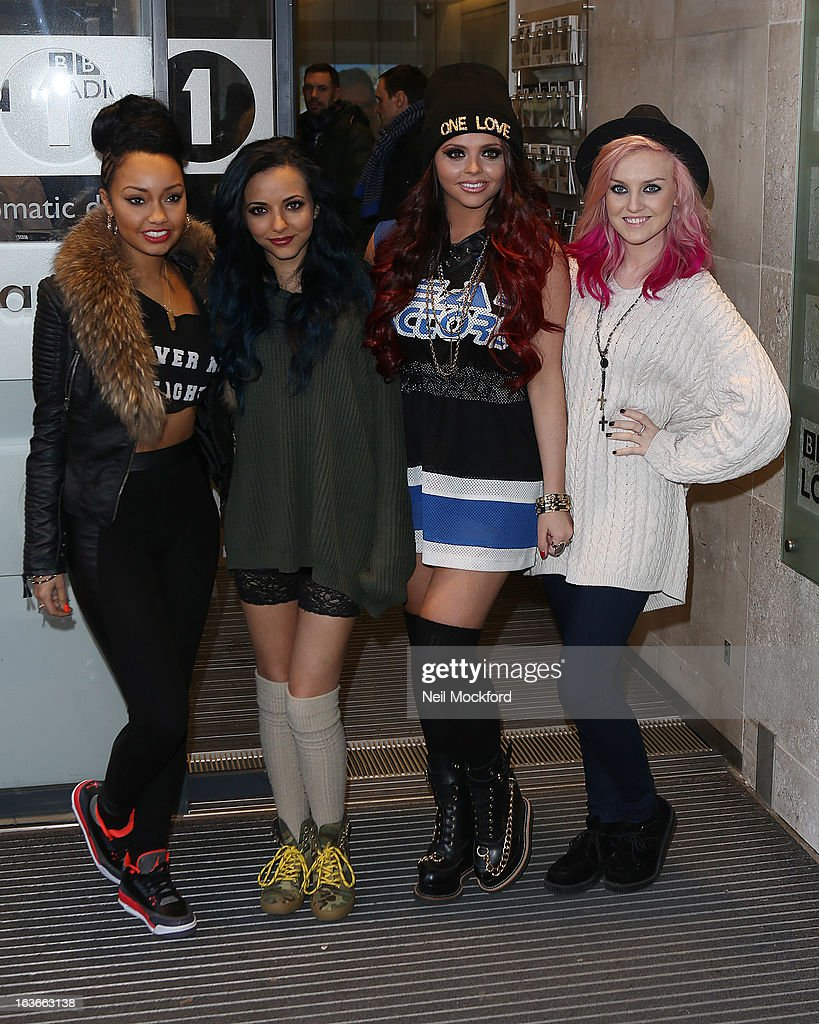 Leigh-Anne Pinnock, Jade Thirlwall, Jesy Nelson and Perrie Edwards from Little Mix seen at BBC Radio One as part of their Comic Relief Day on March 14, 2013 in London, England.