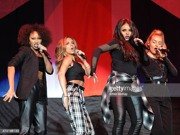 LeighAnne Pinnock Jade Thirlwall Jesy Nelson and Perrie Edwards of Little Mix perform at Philips Arena on February 21 2014 in Atlanta Georgia