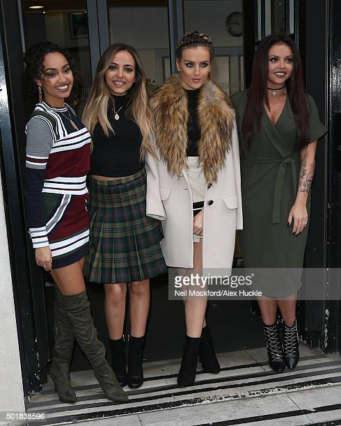 LeighAnne Pinnock Jade Thirlwall Perrie Edwards and Jesy Nelson from Little Mix seen at BBC Radio 2 on December 18 2015 in London England