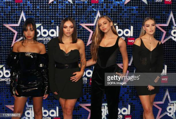 LeighAnne Pinnock Jesy Nelson Jade Thirlwall and Perrie Edwards of Little Mix attend The Global Awards 2019 at the Eventim Hammersmith Apollo in...