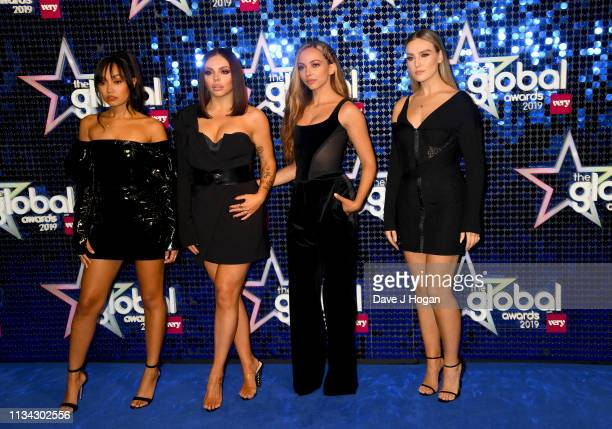 LeighAnne Pinnock Jesy Nelson Jade Thirlwall and Perrie Edwards of Little Mix arrive at the The Global Awards with Verycouk at Eventim Apollo...