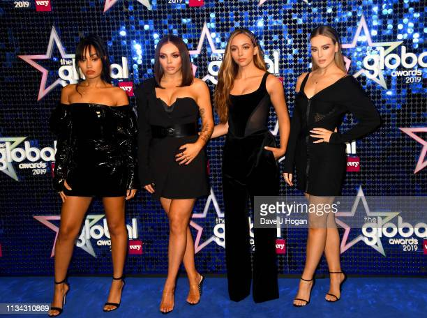 Leigh-Anne Pinnock, Jesy Nelson, Jade Thirlwall and Perrie Edwards of Little Mix arrive at the The Global Awards with Very.co.uk at Eventim Apollo,...
