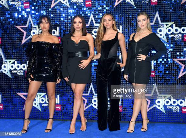 LeighAnne Pinnock Jesy Nelson Jade Thirlwall and Perrie Edwards of Little Mix attend The Global Awards 2019 at Eventim Apollo Hammersmith on March 07...