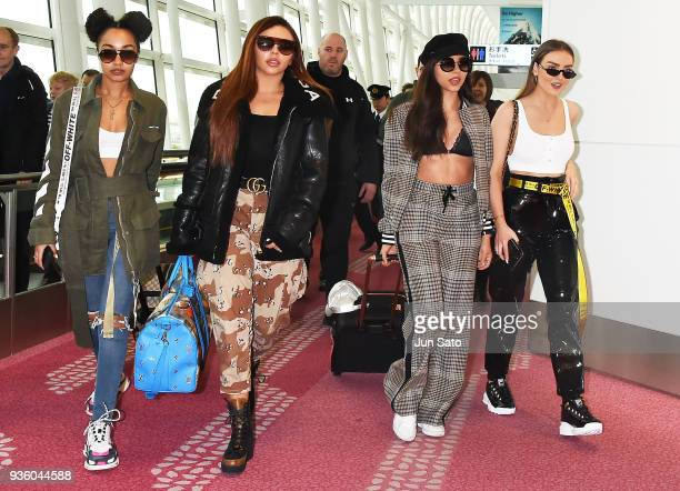 LeighAnne Pinnock Jesy Nelson Jade Thirlwall and Perrie Edwards of Little Mix seen upon arrival at Haneda Airport on March 22 2018 in Tokyo Japan