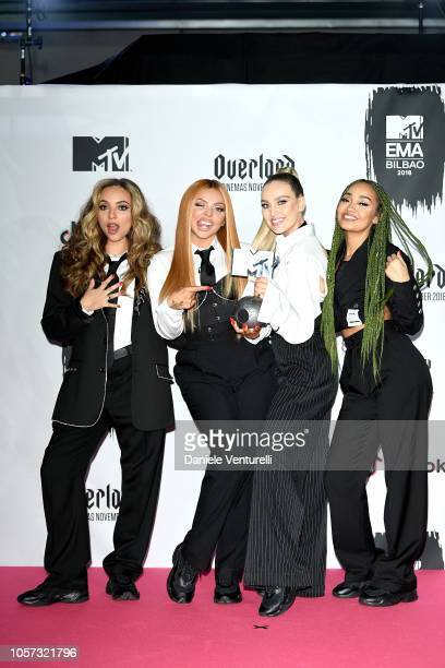 LeighAnne Pinnock Jesy Nelson Perrie Edwards and Jade Thirlwall of Little Mix pose in the Winners room after winning the Best UK Act award during the...