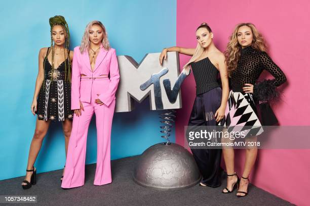 LeighAnne Pinnock Jesy Nelson Perrie Edwards and Jade Thirlwall of Little Mix pose at the MTV EMAs 2018 studio at Bilbao Exhibition Centre on...