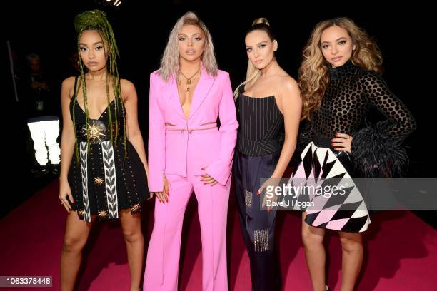 Leigh-Anne Pinnock, Jesy Nelson, Perrie Edwards and Jade Thirlwall of Little Mix attend the MTV EMAs 2018 at the Bilbao Exhibition Centre on November...