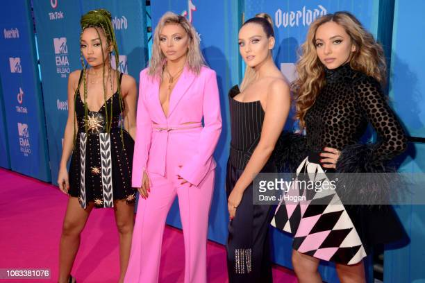 LeighAnne Pinnock Jesy Nelson Perrie Edwards and Jade Thirlwall of Little Mix attend the MTV EMAs 2018 at the Bilbao Exhibition Centre on November 04...