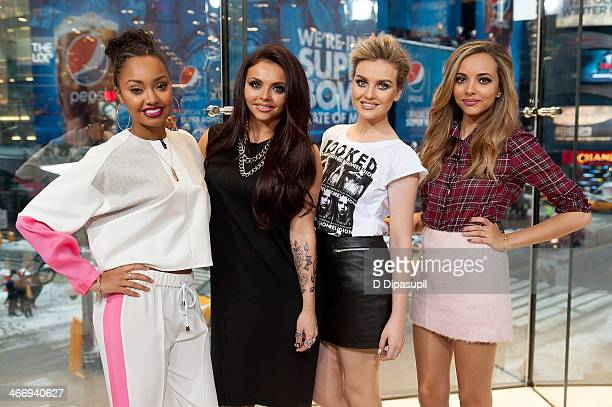 """Leigh-Anne Pinnock, Jesy Nelson, Perrie Edwards, and Jade Thirlwall of Little Mix visit """"Extra"""" at their H&M Studio in Times Square on February 5,..."""