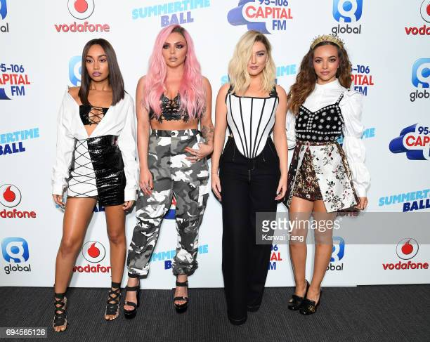 LeighAnne Pinnock Jesy Nelson Perrie Edwards and Jade Thirlwall of Little Mix attend the Capital Summertime Ball at Wembley Stadium on June 10 2017...