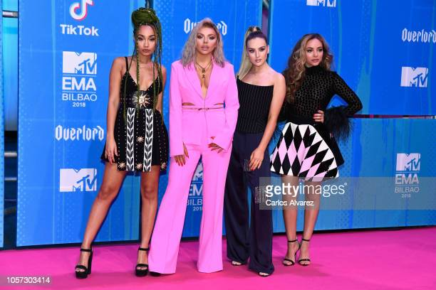 LeighAnne Pinnock Jesy Nelson Perrie Louise Edwards and Jade Thirlwall of Little Mix attends the MTV EMAs 2018 on November 4 2018 in Bilbao Spain