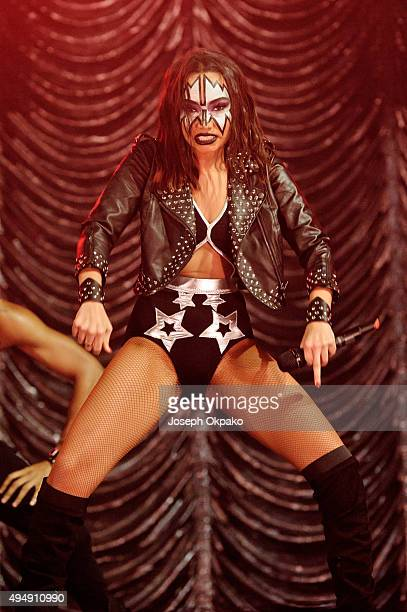 LeighAnne Pinnock performs at the KISS FM Haunted House Party at SSE Arena on October 29 2015 in London England