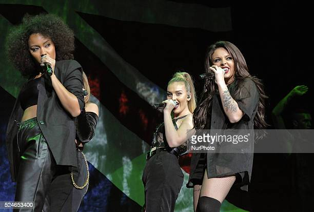 LeighAnne Pinnock Perrie Edwards and Jesy Nelson of the band Little Mix from the television show The X Factor were the second opening band for the...