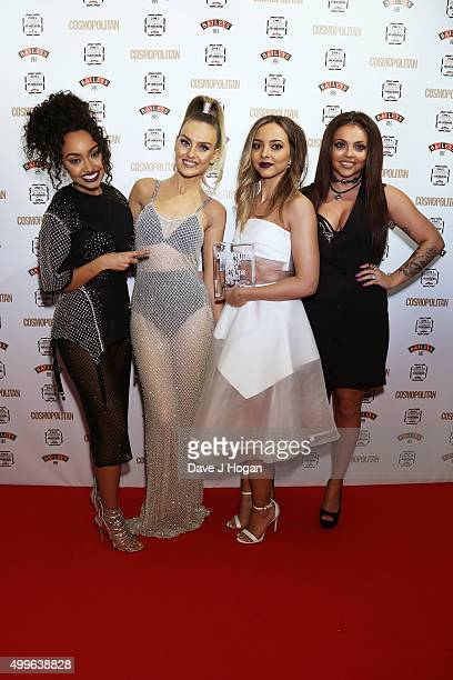 LeighAnne Pinnock Perrie Edwards Jade Thirlwal and Jesy Nelson of little Mix pose for a photo with the award for Girl Group during the Cosmopolitan...