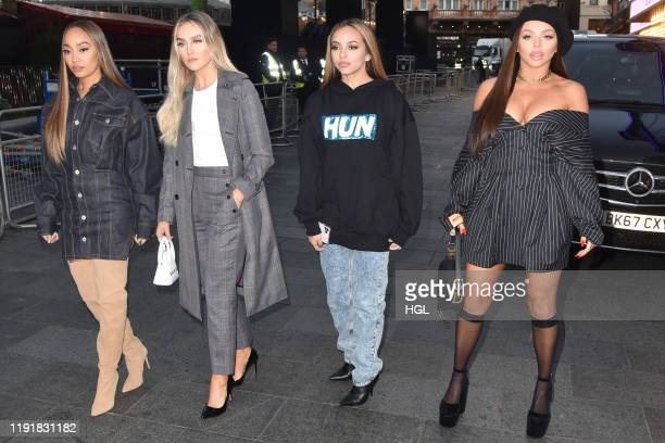 Leigh-Anne Pinnock, Perrie Edwards, Jade Thirlwall and Jesy Nelson of Little Mix seen arriving at the Global Studios for the Heart Breakfast show on...