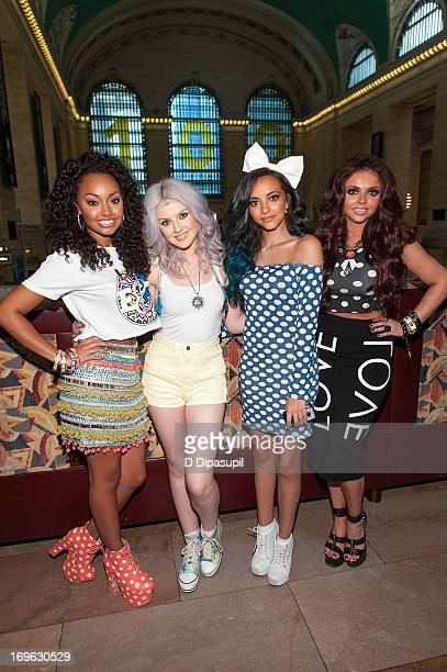 LeighAnne Pinnock Perrie Edwards Jade Thirlwall and Jesy Nelson of Little Mix visit Extra at Michael Jordan's The Steak House NYC in Grand Central...