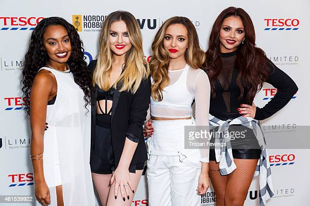 LeighAnne Pinnock Perrie Edwards Jade Thirlwall and Jesy Nelson of Little Mix attend the Nordoff Robbins Six Nations Championship Rugby Dinner at The...