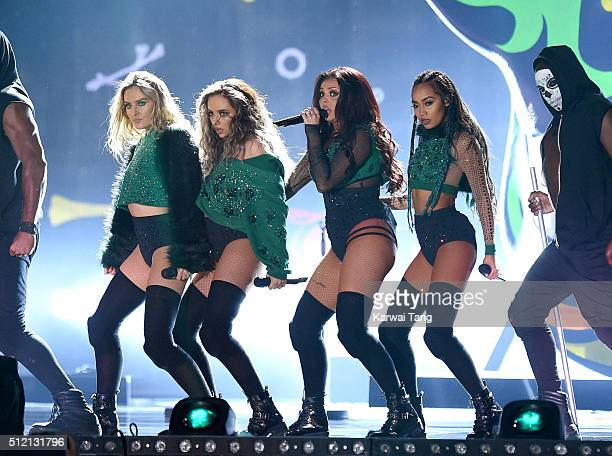 LeighAnne Pinnock Perrie Edwards Jade Thirlwall and Jesy Nelson of Little Mix perform on stage at the BRIT Awards 2016 at The O2 Arena on February 24...