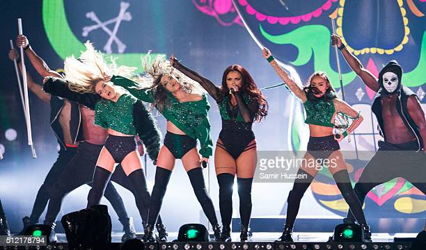 LeighAnne Pinnock Perrie Edwards Jade Thirlwall and Jesy Nelson of Little Mix peform live on stage at The O2 Arena on February 24 2016 in London...