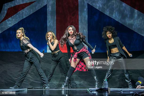 LeighAnne Pinnock Perrie Edwards Jesy Nelson and Jade Thirlwall of Little Mix performs in concert at The Palace of Auburn Hills on March 13 2014 in...