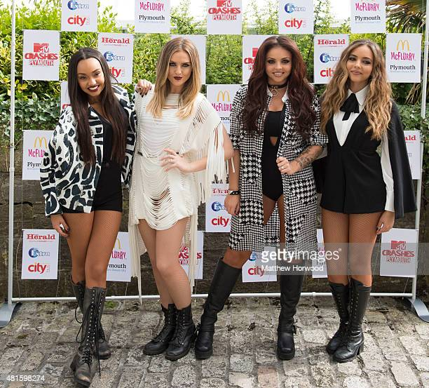 LeighAnne Pinnock Perrie Edwards Jesy Nelson and Jade Thirlwall of Little Mix pose for the media ahead of the MTV Crashes Plymouth concert at...