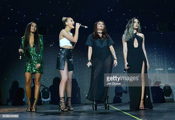 LeighAnne Pinnock Perrie Edwards Jesy Nelson and Jade Thirlwall of Little Mix perform live on stage with Jason Derulo at the O2 Arena on February 5...