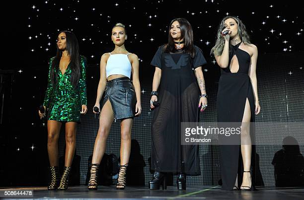 LeighAnne Pinnock Perrie Edwards Jesy Nelson and Jade Thirlwall of Little Mix perform on stage at The O2 Arena on February 5 2016 in London England