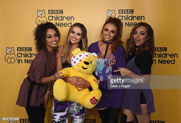 LeighAnne Pinnock Perrie Edwards Jesy Nelson and Jade Thirlwall of Little Mix show support for BBC Children in Need at Elstree Studios on November 18...