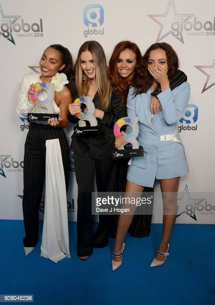 LeighAnne Pinnock Perrie Edwards Jesy Nelson and Jade Thirlwall of Little Mix win at The Global Awards 2018 at Eventim Apollo Hammersmith on March 1...