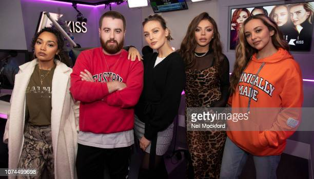 Leigh-Anne Pinnock, Perrie Edwards, Jesy Nelson and Jade Thirwall from Little Mix visit Tom Green at KISS FM UK studios on November 29, 2018 in...