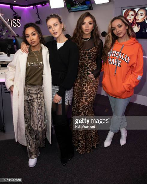 Leigh-Anne Pinnock, Perrie Edwards, Jesy Nelson and Jade Thirwall from Little Mix visit Tom Green at the KISS FM UK studios on November 29, 2018 in...