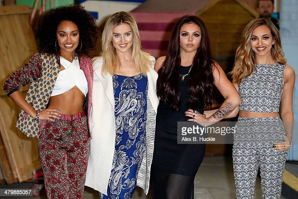 LeighAnne Pinnock Perrie Edwards Jesy Nelson Jade Thirlwall of Little Mix at the ITV Studios after appearing on This Morning on March 21 2014 in...