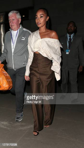 LeighAnne Pinnock seen leaving the BBC broadcasting house after filming at The One Show on September 17 2020 in London England