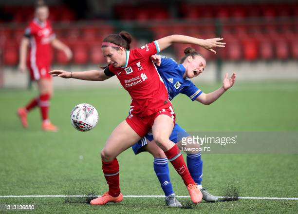 Leighanne Robe of Liverpool holds off Remi Allan of Leicester during The Women's FA Cup 4th Round match between Leicester City Women and Liverpool...