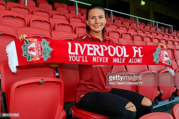 Leighanne Robe of Liverpool Ladies poses for a photo after signing for Liverpool Ladies at Anfield on June 25, 2018 in Liverpool, England.