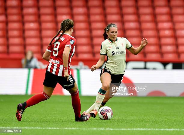Leighanne Robe of Liverpool Women competing with Charlotte Newsham of Sheffield United Women during the Barclays FA Women's Championship match...