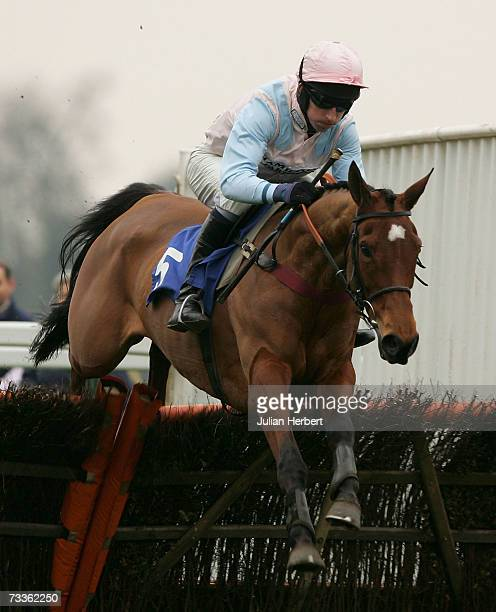 Leighton Aspell and United clear an early flight to land The totesprtcom National Spirit Hurdle Race run at Fontwell Racecourse on February 18 in...