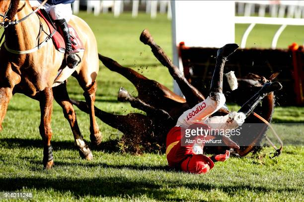 Leighton Aspell falls from Safe Harbour at Kempton Park racecourse on February 9, 2018 in Sunbury, England.