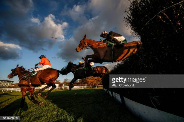 Leighton Aspell riding Full Irish on their way to winning The Donncha Murphy Is Available Intermediate Handicap Steeple Chase at Lingfield racecourse...