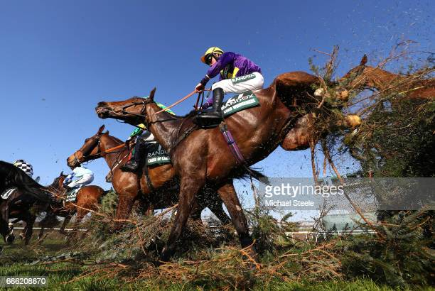 Leighton Aspell riding Lord Windermere jumps over the Canal Turn during the 2017 Randox Heath Grand National at Aintree Racecourse on April 8 2017 in...