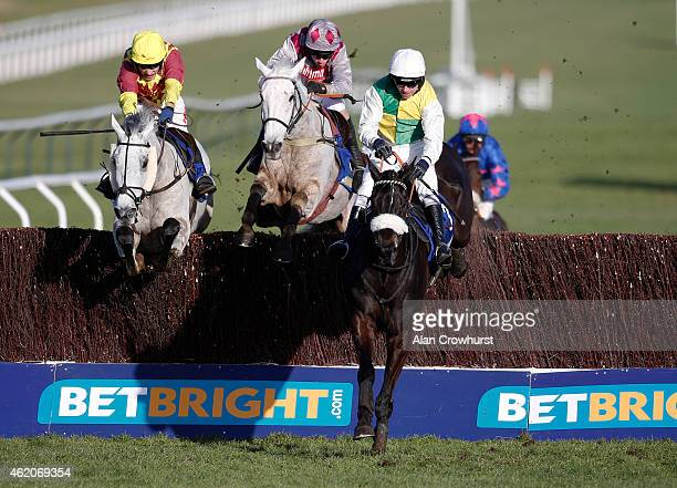 Leighton Aspell riding Many Clouds clear the last to win The BetBright Cup Steeple Chase at Cheltenham racecourse on January 24 2015 in Cheltenham...
