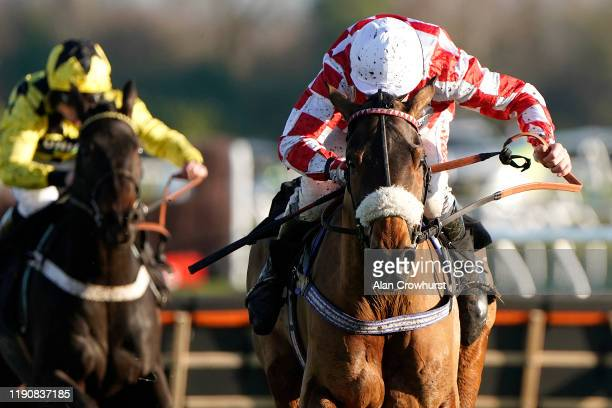 Leighton Aspell riding Sevarano clear the last to win The Ladbrokes Daily Odds Boosts Novices' Hurdle at Newbury Racecourse on November 29 2019 in...