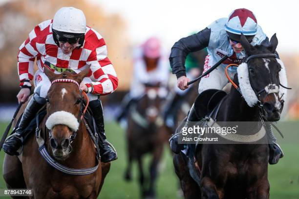 Leighton Aspell riding Toviere clear the last to win The Bam Construct UK Steeple Chase at Ascot racecourse on November 25 2017 in Ascot United...