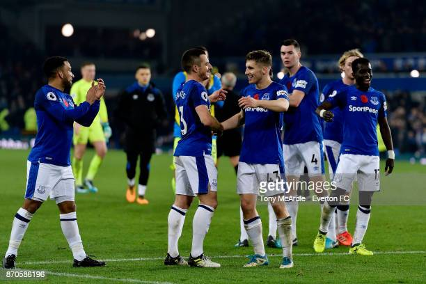 Leighton Baines and Jonjoe Kenny of Everton at the end of the Premier League match between Everton and Watford at Goodison Park on November 5 2017 in...