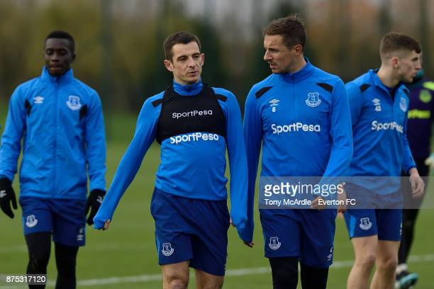 Leighton Baines and Phil Jagielka during the Everton Training session at USM Finch Farm on November 17 2017 in Halewood England