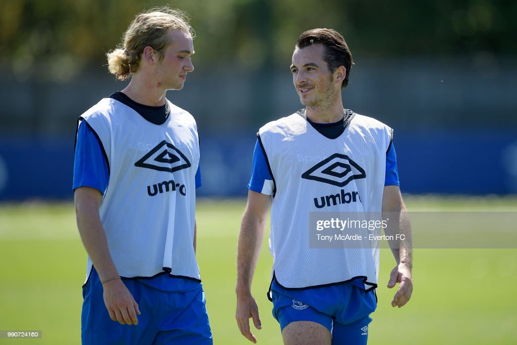 Leighton Baines and Tom Davies (L) during the Everton training session at USM Finch Farm on July 3, 2018 in Halewood, England.