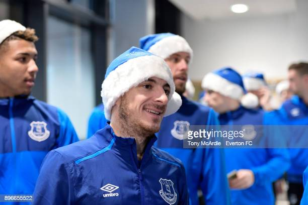 Leighton Baines during the visit of Everton players Christmas visit to Alder Hey Childrens Hospital on December 21 2017 in Liverpool England
