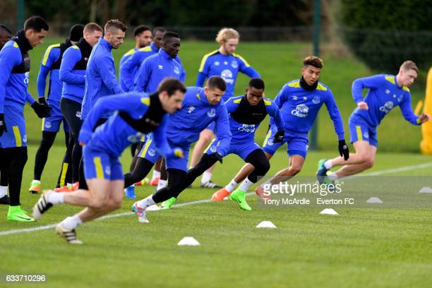 Leighton Baines Kevin Mirallas Ademola Lookman Mason Holgate and Mathew Pennington during the Everton training session at USM Finch Farm on February...