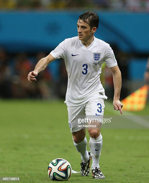 Leighton Baines of England controls the ball during the opening Group D match of the 2014 World Cup between England and Italy at Arena Amazonia on...
