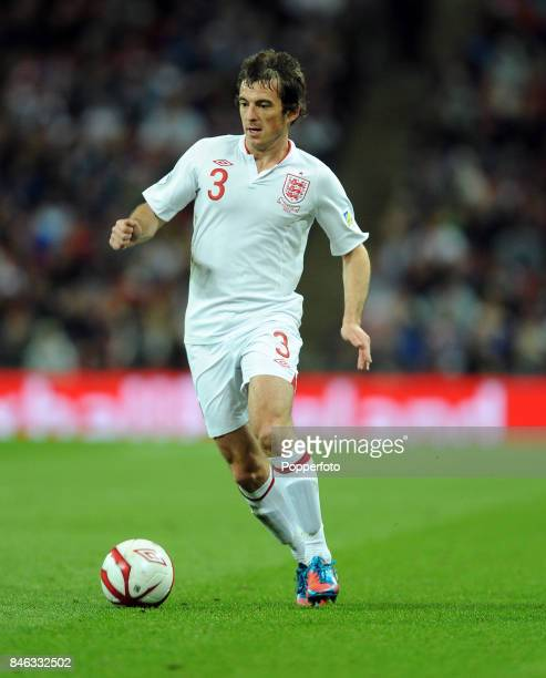 Leighton Baines of England in action during the FIFA 2014 World Cup qualifying match between England and Ukraine at Wembley Stadium on September 11...